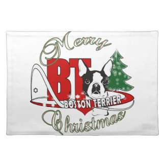 BOSTON TERRIER MERRY CHRISTMAS PLACEMAT