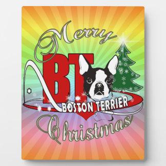 BOSTON TERRIER MERRY CHRISTMAS PLAQUE
