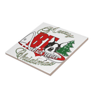 BOSTON TERRIER MERRY CHRISTMAS TILE