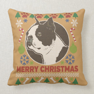 Boston Terrier Merry Christmas Ugly Sweater Throw Pillow