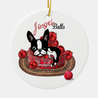 Boston Terrier Mirabelle Jingle bells ornament
