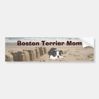 Boston Terrier Mom Bumper Sticker Sandcastles