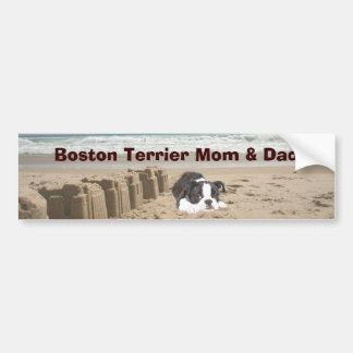 Boston Terrier Mom & Dad Bumper Sticker Sandcastle