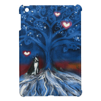 Boston Terrier night love glowing hearts tree iPad Mini Case