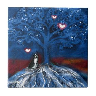 Boston Terrier night love glowing hearts tree Tiles