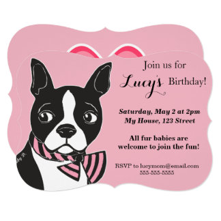 Boston Terrier Pink Birthday Custom Invitation