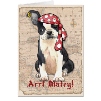 Boston Terrier Pirate Card