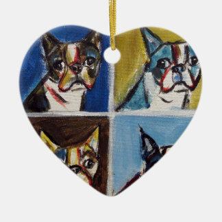 Boston Terrier pop art painting Ceramic Ornament