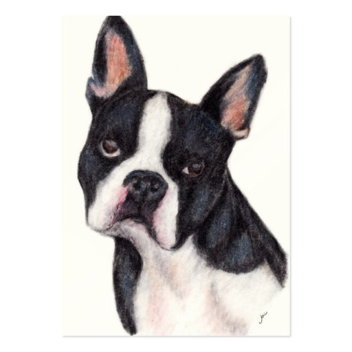 Boston Terrier Portrait ACEO Art Trading Cards Business Card Template