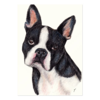 Boston Terrier Portrait ACEO Art Trading Cards Large Business Card