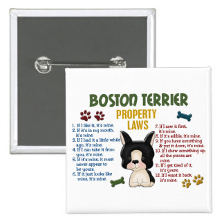 Boston Terrier Property Laws 4 2 Inch Square Button
