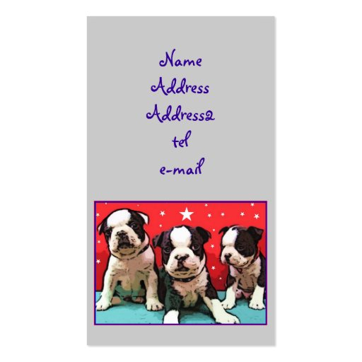 Boston Terrier puppies business card