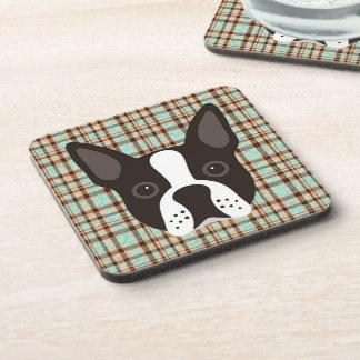 Boston Terrier Puppy Dog Tartan Plaid Coaster