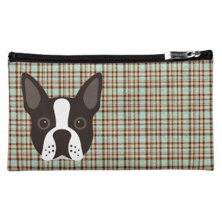 Boston Terrier Puppy Dog Tartan Plaid Cosmetic Bag