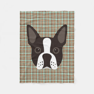 Boston Terrier Puppy Dog Tartan Plaid Fleece Blanket