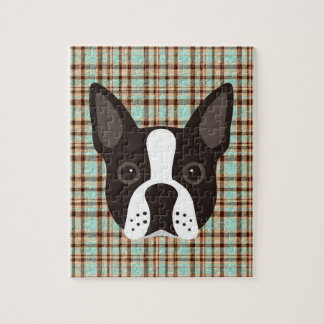 Boston Terrier Puppy Dog Tartan Plaid Jigsaw Puzzle