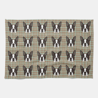 Boston Terrier Puppy Dog Tartan Plaid Kitchen Towel