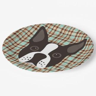 Boston Terrier Puppy Dog Tartan Plaid Paper Plate