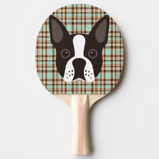 Boston Terrier Puppy Dog Tartan Plaid Ping Pong Paddle