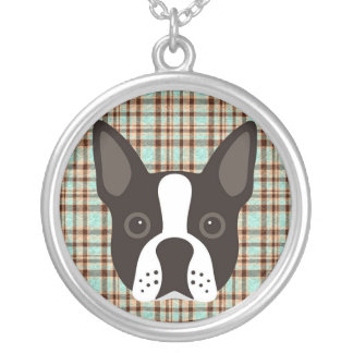 Boston Terrier Puppy Dog Tartan Plaid Silver Plated Necklace