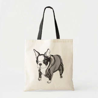 Boston Terrier Puppy in Sweats Canvas Bag