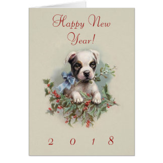Boston Terrier Puppy Wishing You a Happy 2018 Card