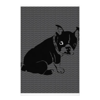 Boston Terrier puppy Woof Customized Stationery