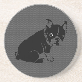 Boston Terrier puppy Woof Drink Coaster