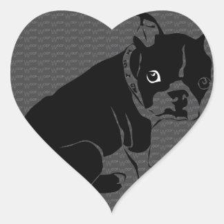 Boston Terrier puppy Woof Heart Sticker