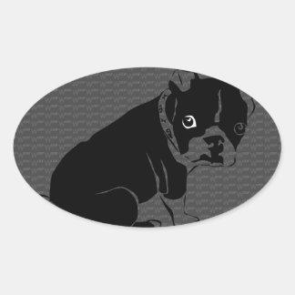 Boston Terrier puppy Woof Oval Sticker