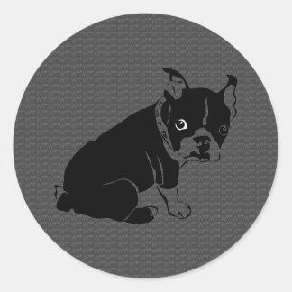 Boston Terrier puppy Woof Round Sticker