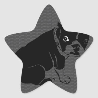 Boston Terrier puppy Woof Star Sticker