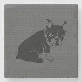 Boston Terrier puppy Woof Stone Beverage Coaster