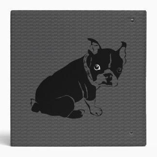 Boston Terrier puppy Woof Vinyl Binder