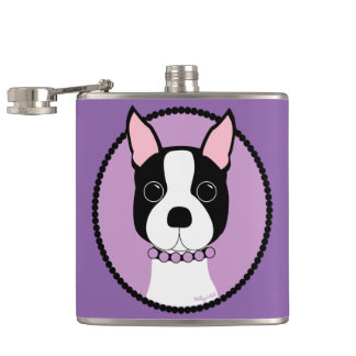 Boston Terrier Purple Hip Flask