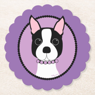 Boston Terrier Purple Paper Coaster