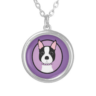 Boston Terrier Purple Silver Plated Necklace