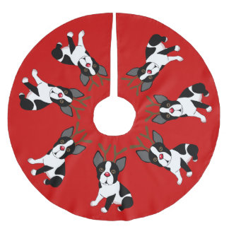 Boston Terrier Reindeer Christmas Tree Skirt