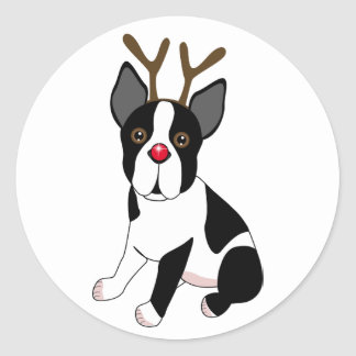 Boston Terrier Reindeer Classic Round Sticker