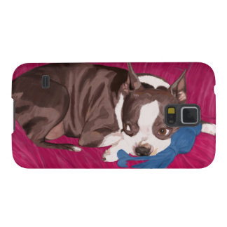Boston Terrier Resting on Red Couch -Digital Paint Galaxy S5 Cover
