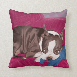 Boston Terrier Resting on Red Couch -Digital Paint Throw Pillow