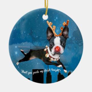 Boston Terrier Rudolph reindeer Holiday ornament
