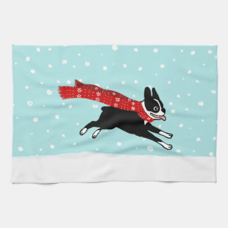 Boston Terrier Running in the Snow - Holiday Dog Kitchen Towel