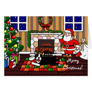 Boston Terrier & Santa Christmas Cartoon 3 Card