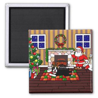 Boston Terrier & Santa Christmas Cartoon 3 Magnet
