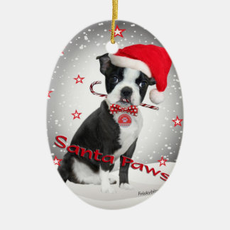 Boston Terrier santa Paws Ceramic Ornament