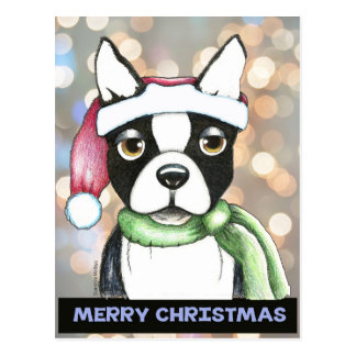 Boston Terrier Santa Postcard