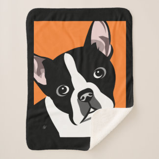 Boston Terrier Sherpa Blanket