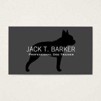 Boston Terrier Silhouette Black on Grey Business Card