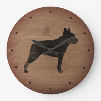 Boston Terrier Silhouette Large Clock